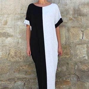 Black n White Colorblock Dress